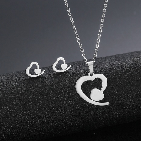 popular stainless steel heart-shaped necklace earrings set  NHAC439426's discount tags