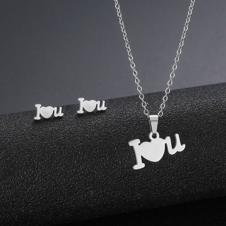 Stainless Steel Heart Necklace Letter I Love You Necklace Earring Set I love you Clavicle Chain NHAC439427's discount tags