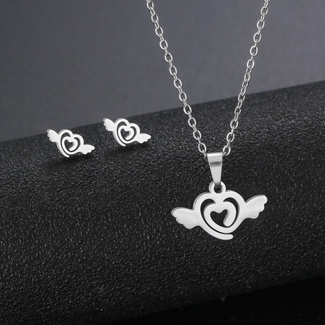 simple love angel wings pendant heart-shaped necklace earrings set stainless steel accessories NHAC439428's discount tags