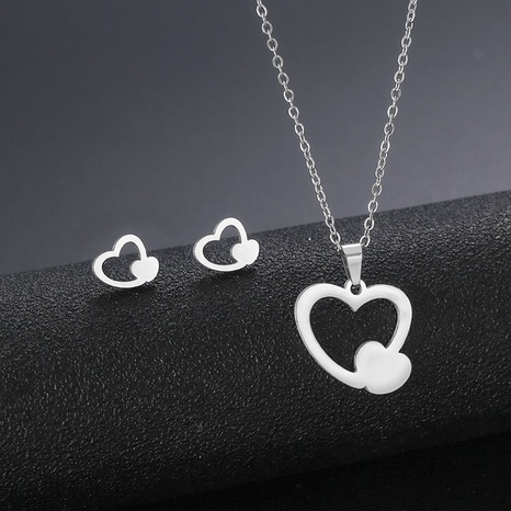 new products steel love necklace glossy stainless steel double peach heart ear studs clavicle chain set NHAC439429's discount tags