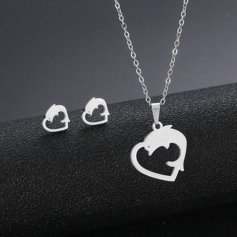 304 stainless steel simple jewelry animal dolphin necklace earrings set dolphin love clavicle chain NHAC439430's discount tags
