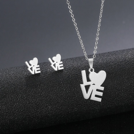 necklace simple letter pendant earrings set stainless steel I love you clavicle chain jewelry NHAC439431's discount tags