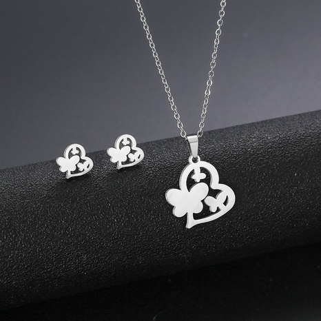 stainless steel heart-shaped necklace earrings set glossy cut love butterfly clavicle chain NHAC439432's discount tags