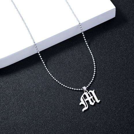 cross-border jewelry stainless steel gothic letter M pendant necklace fashion hip-hop letter jewelry  NHDB439513's discount tags