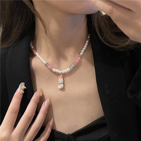 cute pearl rabbit necklace double layered wearing stainless steel fashion clavicle chain  NHYQ439567's discount tags
