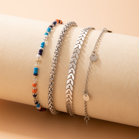New Jewelry Bohemian Color Rice Bead Disc Anklet Four-piece Set NHGY445041's discount tags