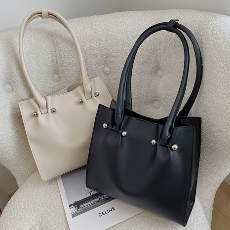 Simple trendy shoulder bag solid color large capacity mother and daughter bag handbag NHXC439650's discount tags