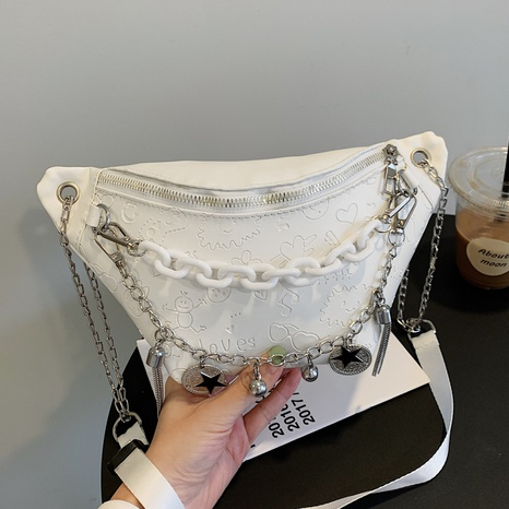 Simple fashion PU messenger bag women's embossing chest bag chain decoration NHXC439649's discount tags