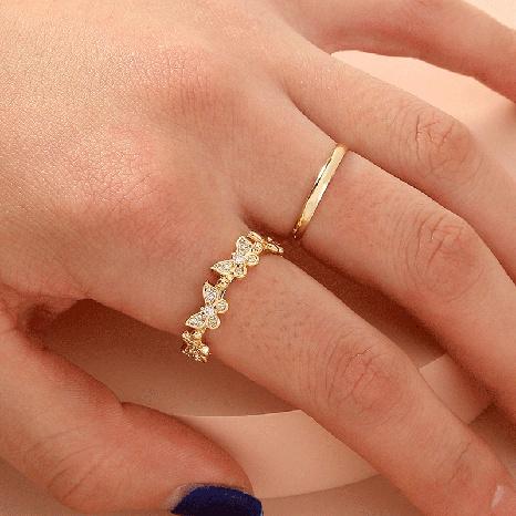 moda tendencia personalidad mariposa anillo de circonio conjunto anillo dama NHDB439770's discount tags