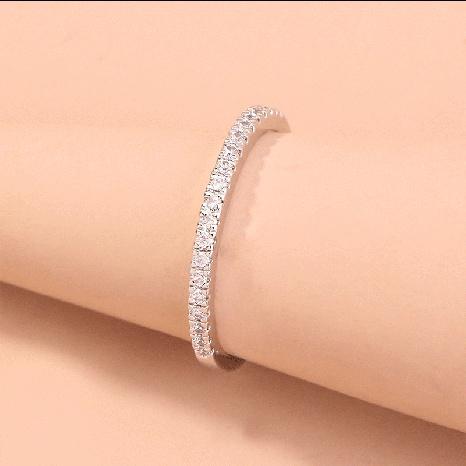 Anillo de joyería de moda para mujer con incrustaciones de aleación de cobre y níquel, cadena de diamantes, accesorios de anillo de diamantes NHDB439772's discount tags