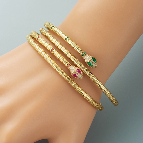 exaggerated retro snake-shaped bracelet copper plated 18K gold micro-inlaid zircon bracelet wholesale NHLN440083's discount tags