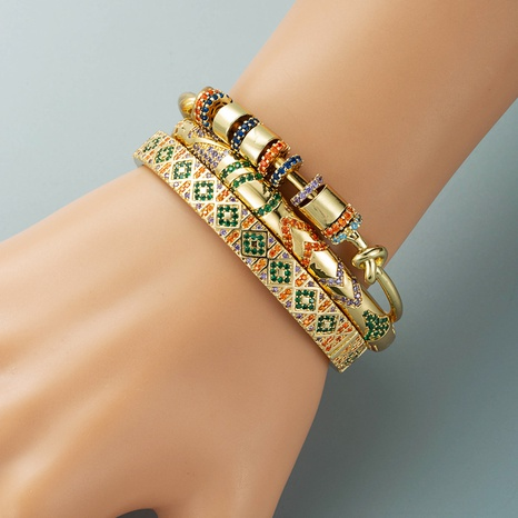 creative diamond circle bracelet copper plated real gold micro-inlaid color zircon jewelry NHLN440084's discount tags