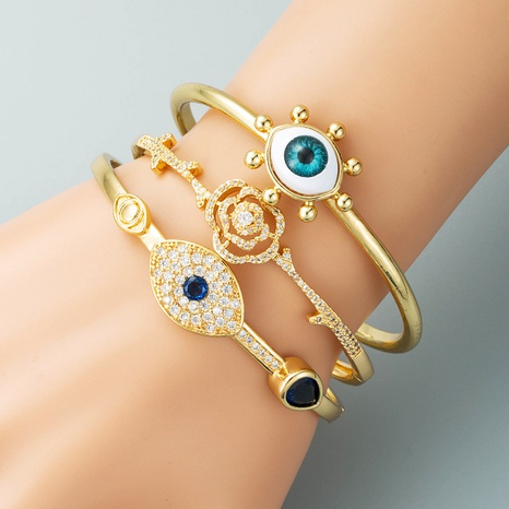 Devil's Eye Series Retro Hip Hop Copper Plated Real Gold Inlaid Zircon Bracelet I  NHLN440087's discount tags