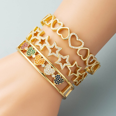 creative hollow love five-pointed star copper plated real gold micro-inlaid colorful zircon bracelet NHLN440090's discount tags