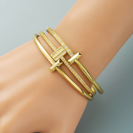 simple personality geometric T-shaped buckle bracelet copper plated 18K real gold zircon bracelet NHLN440093's discount tags