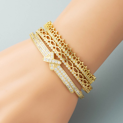 fashion hollow lips five-pointed star open bracelet copper plated real gold zircon letter bracelet NHLN440094's discount tags