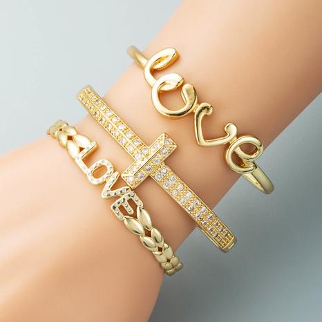 creative LOVE letter open bracelet copper plated real gold zircon geometric T-shaped buckle bracelet NHLN440095's discount tags