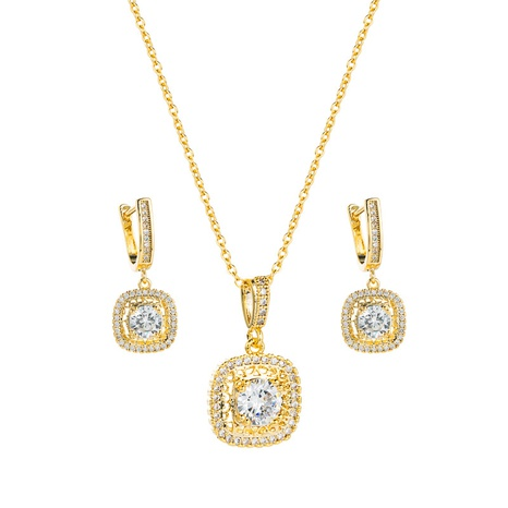 fashion shiny zircon pendant necklace earrings set simple clavicle chain accessories NHYIS440121's discount tags