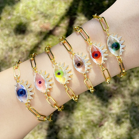 European and American exaggerated demon eye bracelet female simple thick chain bracelet  NHAS440312's discount tags