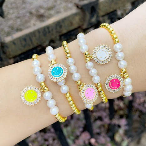 European and American design metal beaded elastic bracelet personality dripping smiley face pearl bracelet  NHAS440313's discount tags