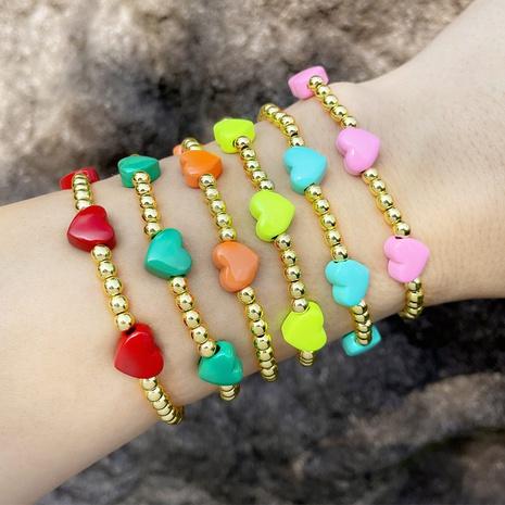Cross-border jewelry enamel drop oil peach heart bracelet round bead bracelet female  NHAS440340's discount tags