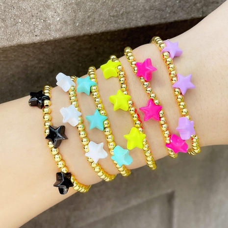Bohemian style 2021 new color drop oil star metal beaded bracelet  NHAS440341's discount tags