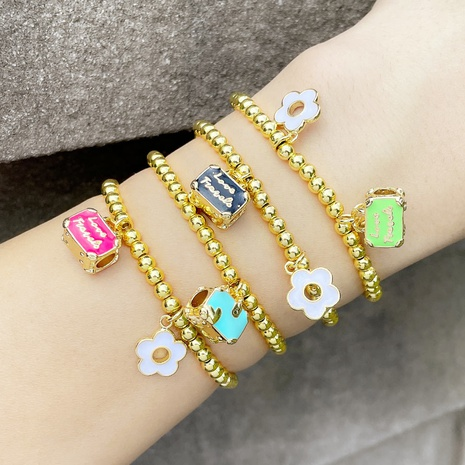cross-border jewelry simple metal bracelet female dripping flower suitcase beaded jewelry  NHAS440343's discount tags