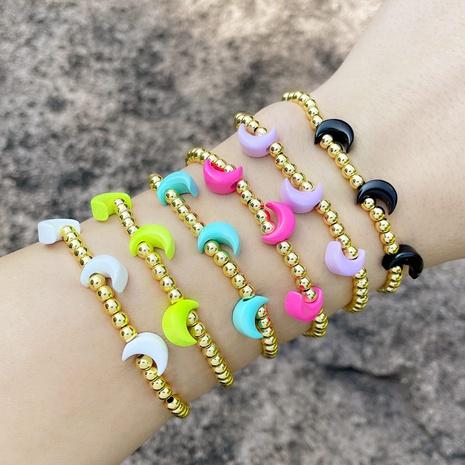 cross-border jewelry Bohemia Color Moon Metal Beaded Elastic Bracelet Fun Bracelet NHAS440345's discount tags