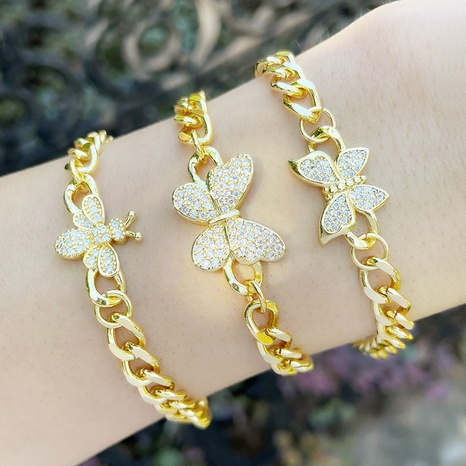 simple personality fashion Cuban chain bracelet niche design butterfly bracelet  NHAS440348's discount tags
