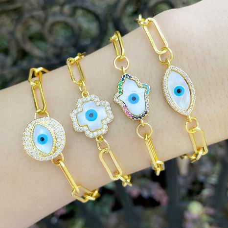 fashion cold wind bracelet inlaid zircon palm demon eye bracelet female   NHAS440350's discount tags