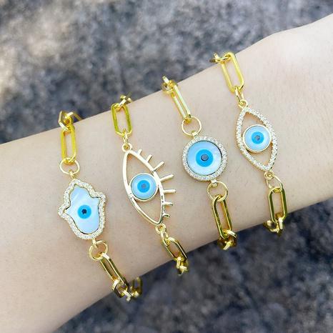 European and American Devil's Eye Jewelry Retro Paperclip Bracelet Palm Clover Eye Bracelet  NHAS440351's discount tags