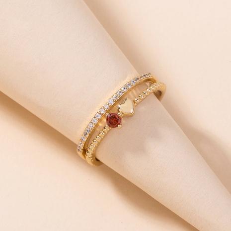 Joyería europea y americana anillo de amor de circón con incrustaciones de cobre anillo de dedo índice de apertura de piedras preciosas rojas NHDB439791's discount tags