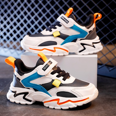 Spring and autumn children's sports casual shoes double mesh leather cotton shoes lightweight running student shoes NHLIA440957's discount tags
