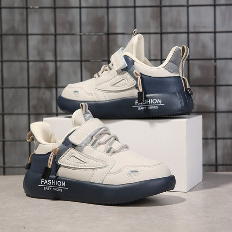 children's four seasons sports leisure board shoes simple plain color matching soft leather student shoes NHLIA440959's discount tags