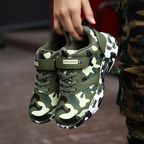 autumn new children's leather camouflage sneakers student military training running shoes boys and girls shoes NHLIA440963's discount tags