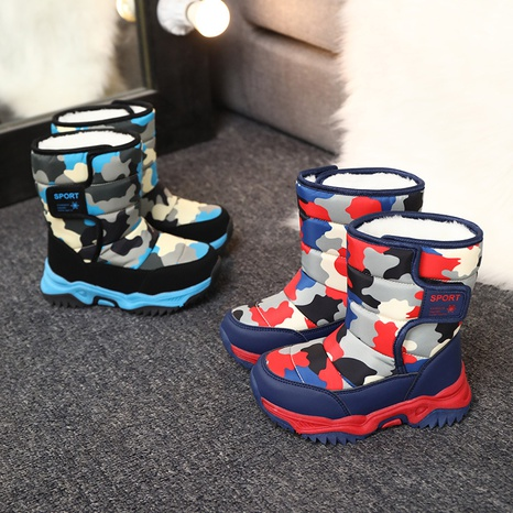 Autumn and winter new plus velvet children's snow boots high-top warm and cotton camouflage lightweight shoes NHLIA440964's discount tags