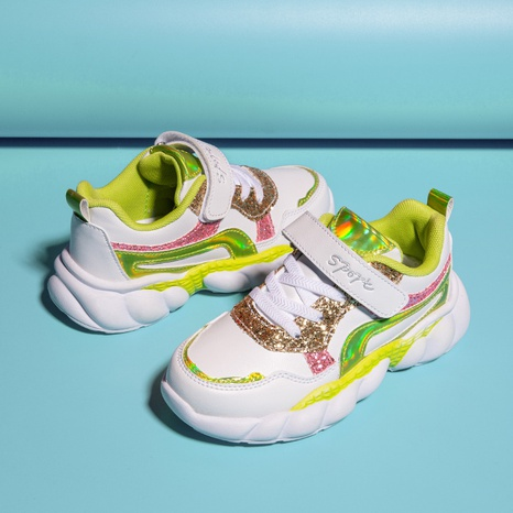 Children's spring and autumn leather sports and leisure shoes glitter light soft sole shoes NHLIA440983's discount tags