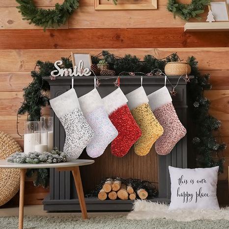 New sequins plush white border Christmas socks Christmas decorations Gift bags NHMV441136's discount tags
