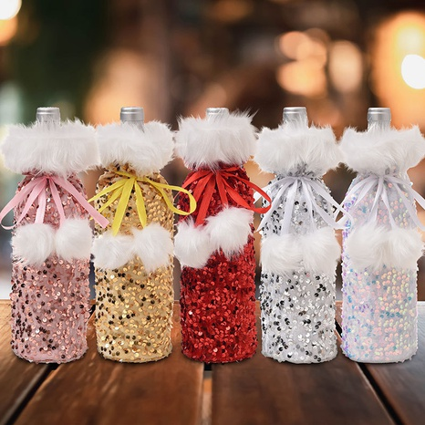 new Christmas decorations sequined wine bottle cover plush beam wine cover  NHMV441137's discount tags
