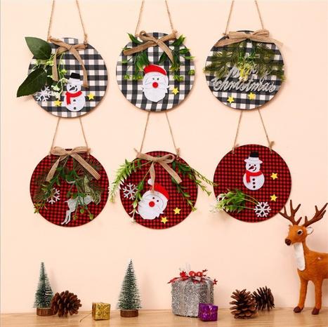 Christmas Ornaments Wreath Wood Pendant Applique Wooden Doorplate Door Hanging Christmas Pendant Wreath NHMV441138's discount tags