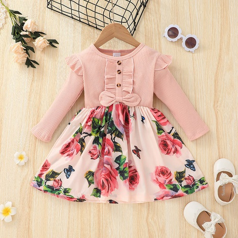 Girls skirts Europe and America autumn long-sleeved dress children's clothing  NHSSF441143's discount tags