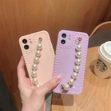Love photo frame pearl bracelet suitable for iphone lens all-inclusive mobile phone case silicone new NHKI441316's discount tags