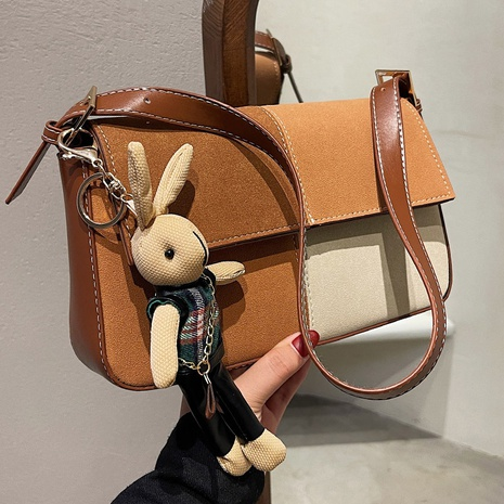 Leather velvet retro frosted bag 2021 autumn and winter new fashion stitching contrast bag NHGA441377's discount tags