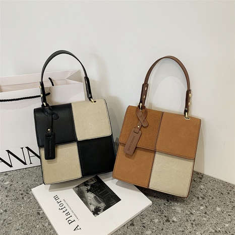 autumn and winter new frosted small square bag shoulder messenger stitching contrast color bag NHGA441379's discount tags