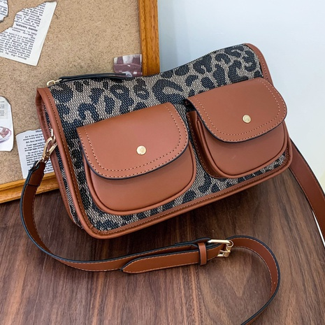 Retro autumn and winter shoulder leopard letters messenger bag NHGA441384's discount tags