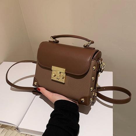 fashion retro portable messenger bag stitching one-shoulder small square bag NHGA441387's discount tags