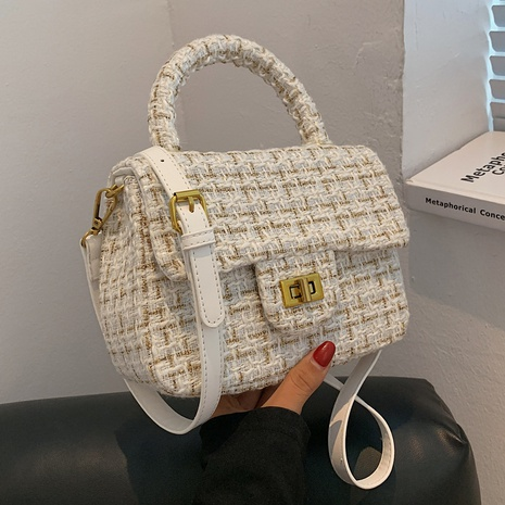 new style plaid cloth portable small square bag lock messenger bag NHGA441393's discount tags