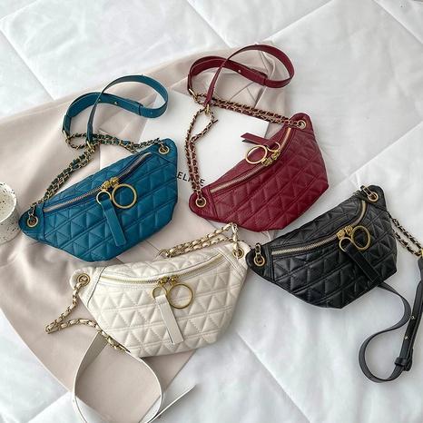2021 autumn new waist bag fashion messenger rhomboid embroidered thread female dumpling bag NHGA441396's discount tags