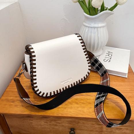 Korean fashion plaid strape saddle bag urban simple one-shoulder messenger bag NHGA441399's discount tags