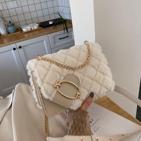 retro plush small square bag embroidery thread rhombus messenger bag NHGA441403's discount tags